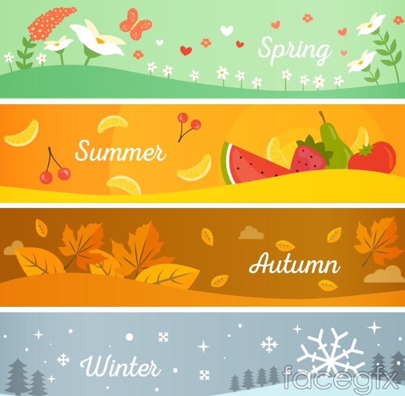 4 Seasons Banner Cartoon Vector Illustration Over