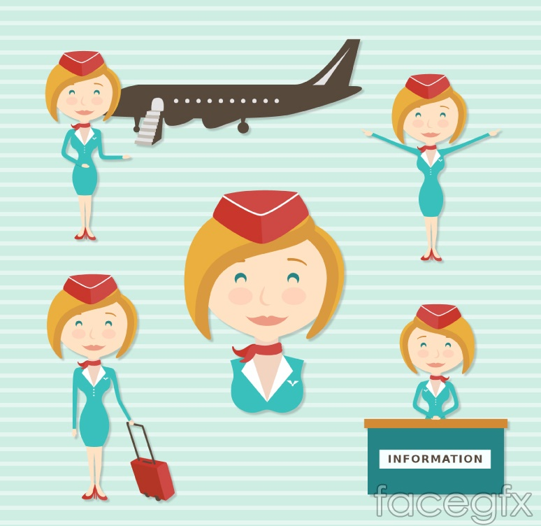 5 hair flight attendant design vector