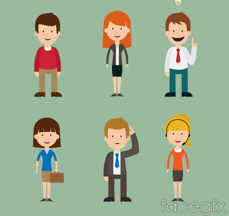 6 Cartoon Characters In The Workplace Vector Over