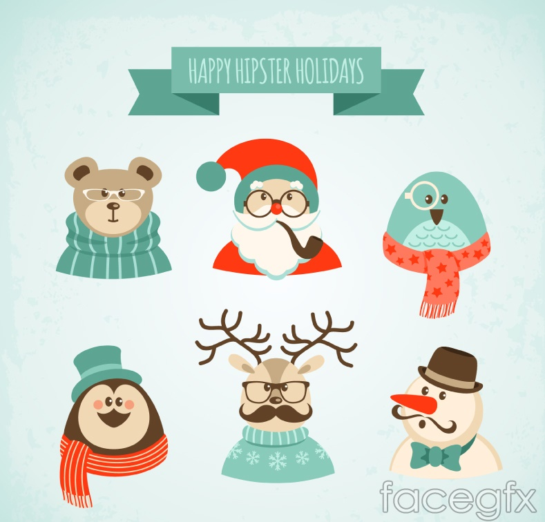 6 Cartoon Christmas characters vector