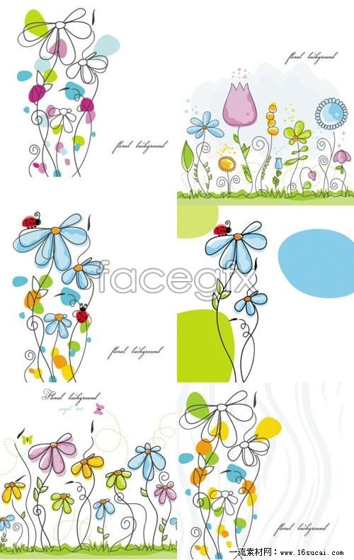 6 cartoon flower line on behalf of vector