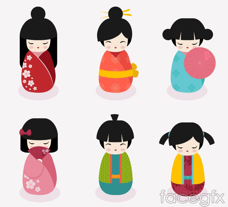 6 cute japan doll design vector over millions vectors stock 6 cute japan doll design vector toneelgroepblik Image collections