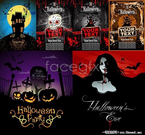 6 halloween horror scene poster vector map – Over millions vectors