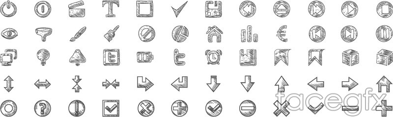 60 hand-drawn Web icons design vector
