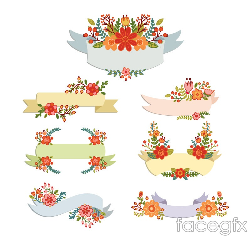 7 cartoon flower decorative banner vector