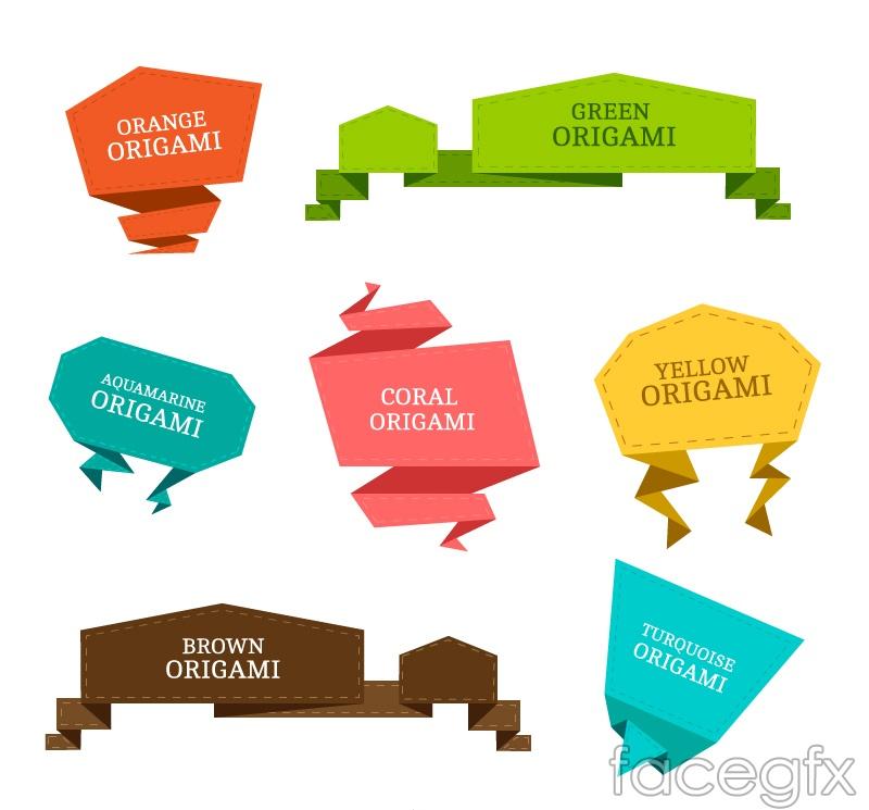 7 colour origami dialog box, vector