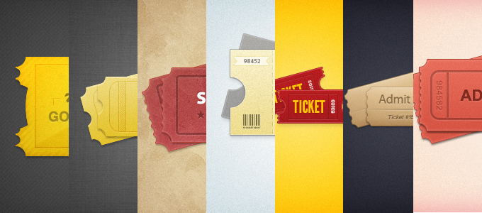 7 Styled Tickets PSD