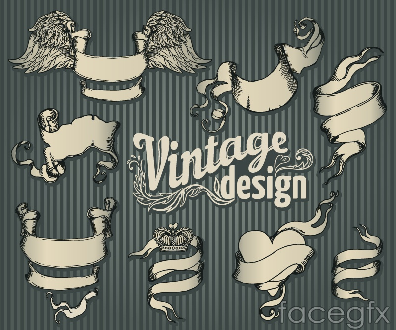 8 retro ribbon banner vector – Over millions vectors, stock