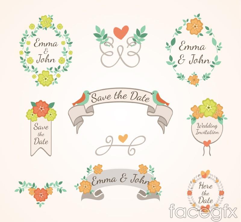9 fresh flower wedding labels vector over millions vectors stock