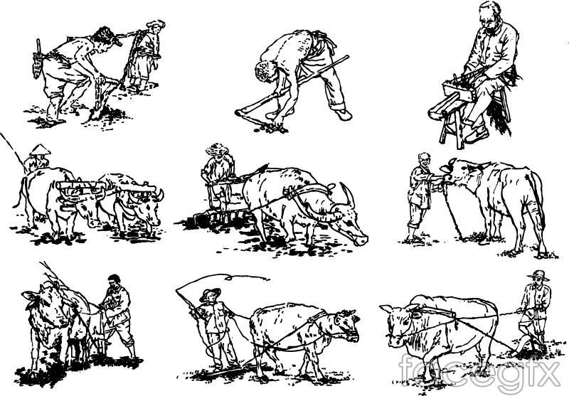 9 hand-drawn farming design vector