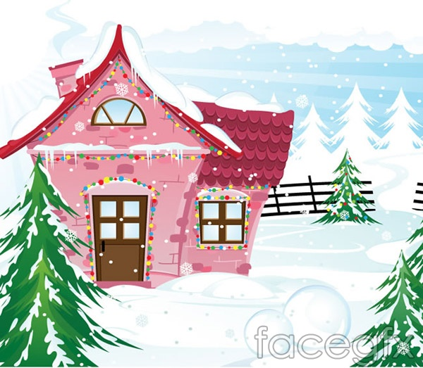 A cabin in the snow world vector