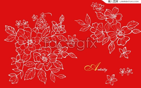 Chinese Flower Line Drawing : A chinese style flower line drawing vector over millions