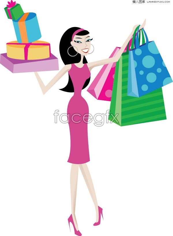 35ead31bd A stylish shopping women vector illustration – Over millions vectors ...