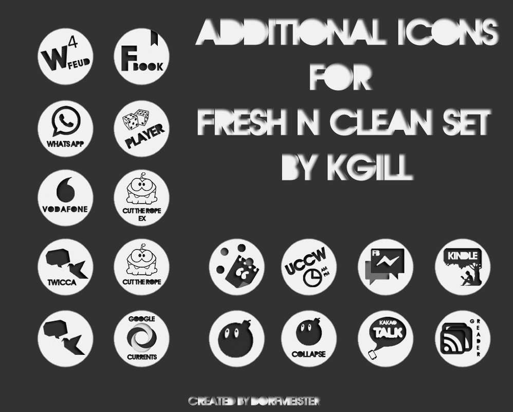 Add-On Icon Set for Kgills FRESH'N'CLEAN Icon-Pack