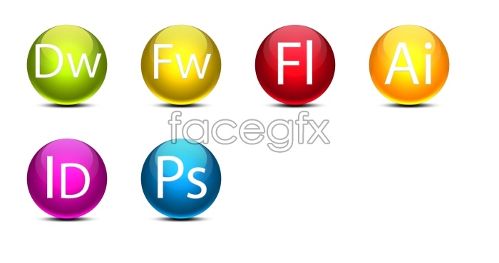 Adobe series round Crystal software icons