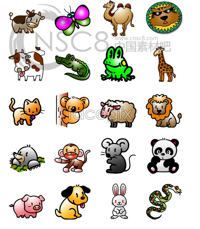 All kinds of animals small icons