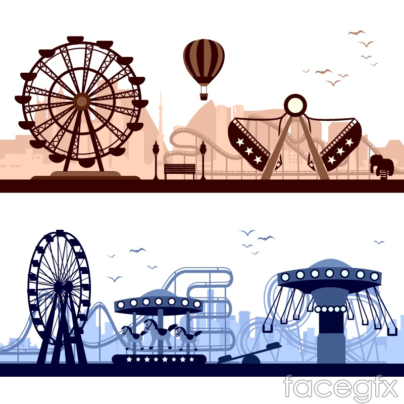 Amusement park facilities banner vector