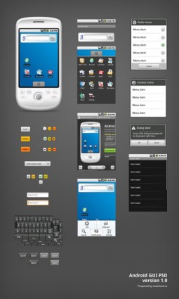 android phone gui psd layered