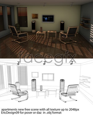 Apartment living room models 3D model