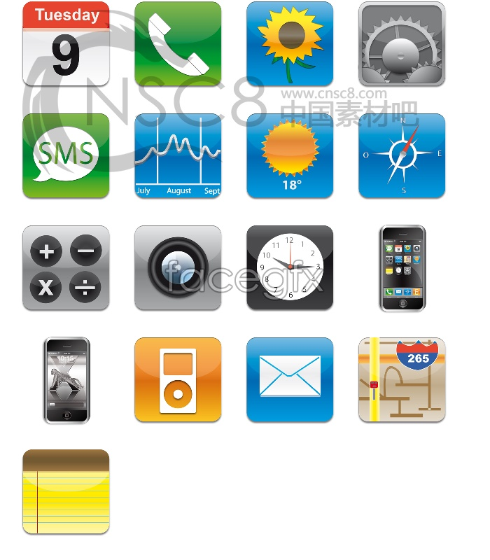 Apple iPhone icons