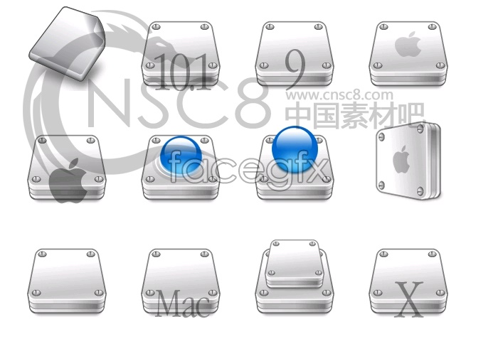 Apple stereo hard disk icons 2