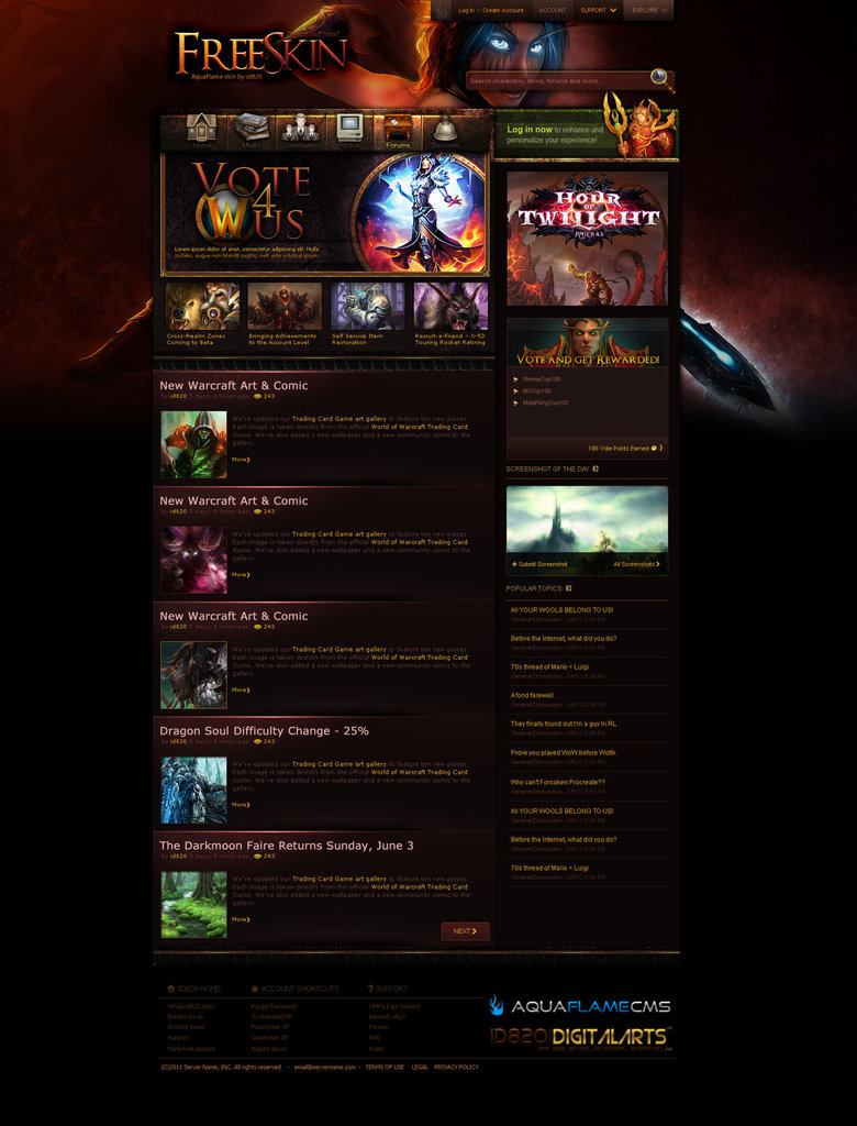 Aqua Flame CMS Default Layout Based on WoW Site