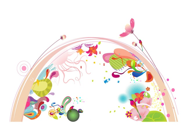 Arc And Flowers vector free