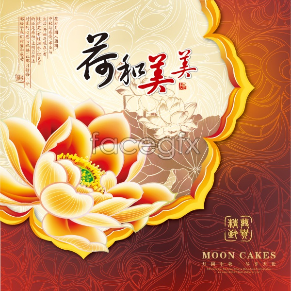 Cake Box Design Vector : Autumn gift box moon cake packaging design vector   Over ...
