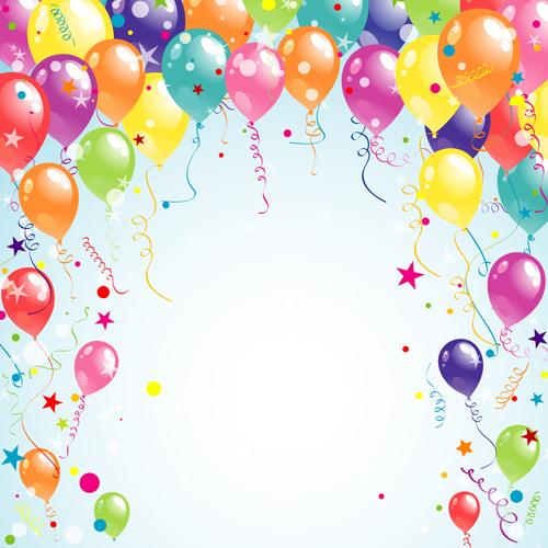 Balloon Ribbon Hy Birthday Background 03 Free