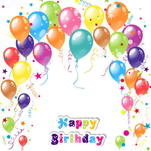 Balloon Ribbon Hy Birthday Background 04 Free