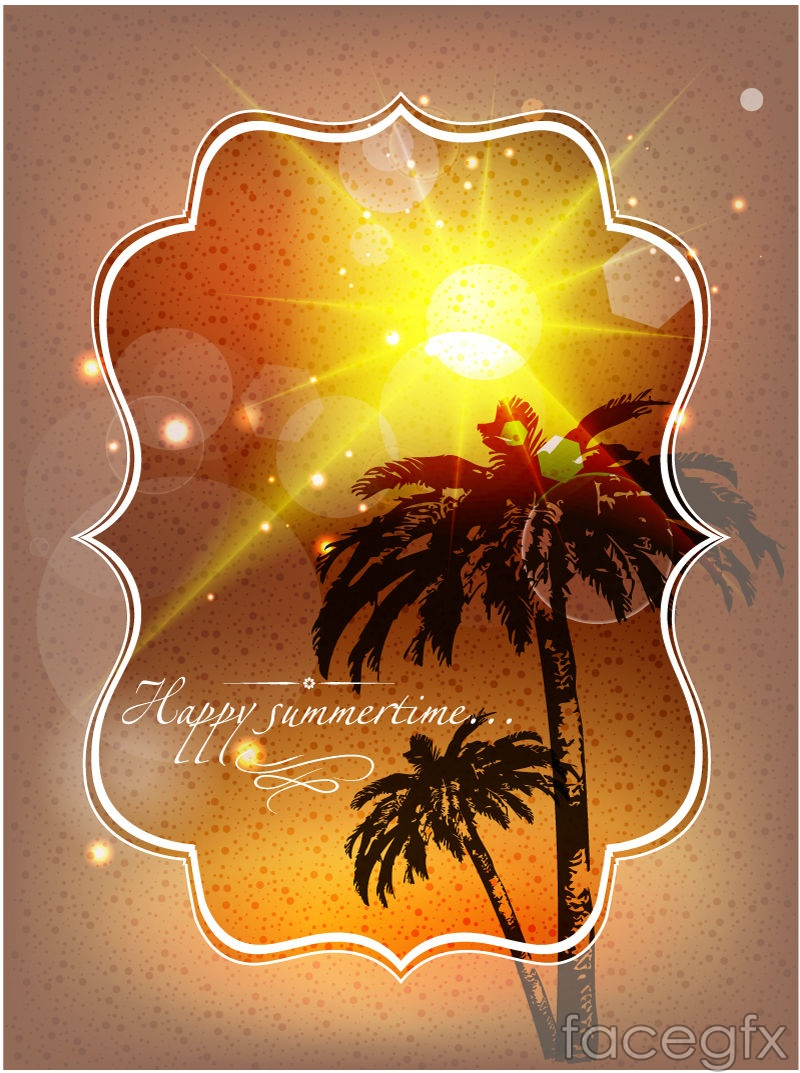 Beach coconut trees poster vector