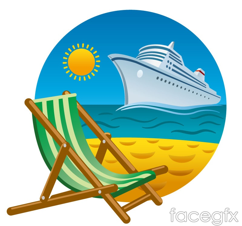 Beautiful Beaches And Cruise Ship Background Vector Over