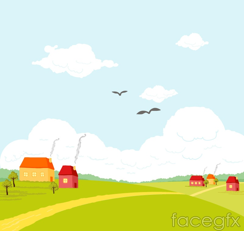 Beautiful Cartoon Plains Village Landscape Vector Over