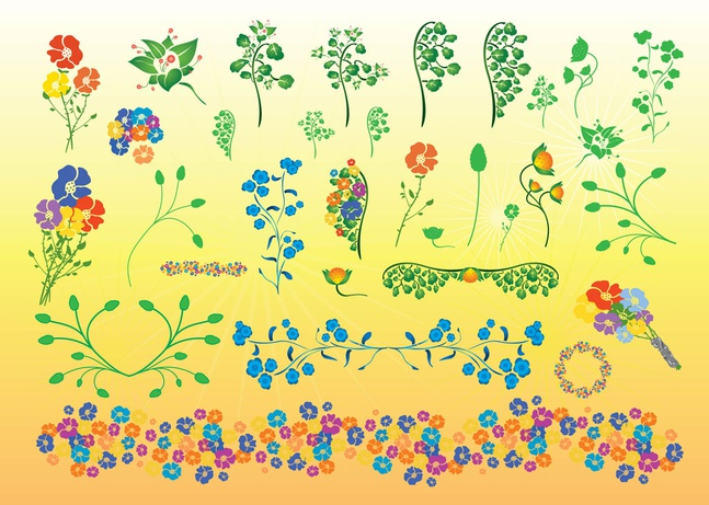 Beautiful Flowers Vector Illustrations free