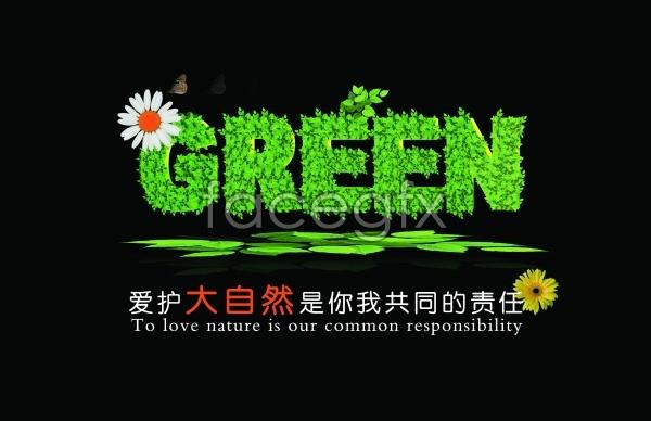 Beautiful nature green public service ads PSD