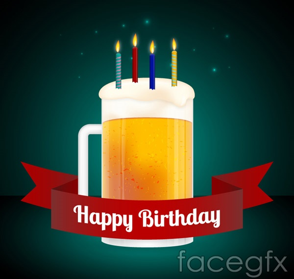 Beer Birthday Cards Vector