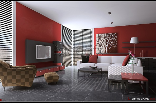 Black and gray stylish living room models 3D model
