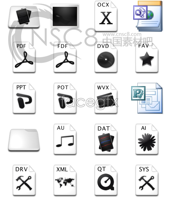 Black and white mix boutique system icons