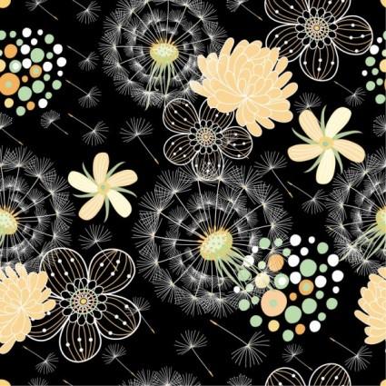 black background floral 04 vector