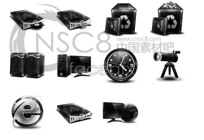 Black computer system desktop icons