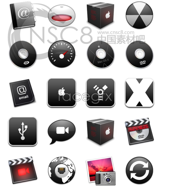 Black cool topic icons