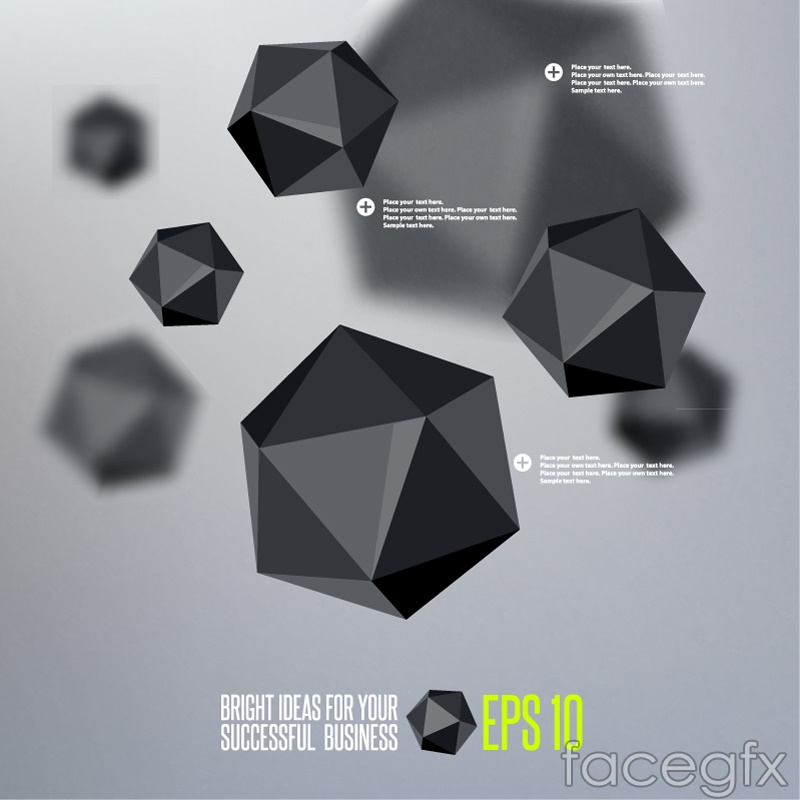 Black faceted background vector