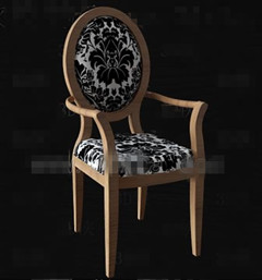 Black flower fabric wooden chair 3D Model