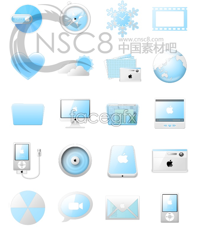 Blue Apple desktop icons