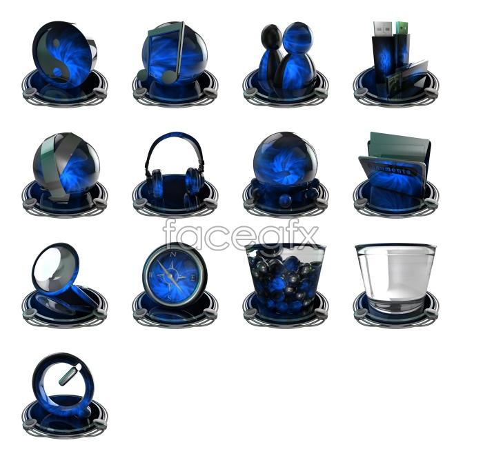 Blue black desktop icons