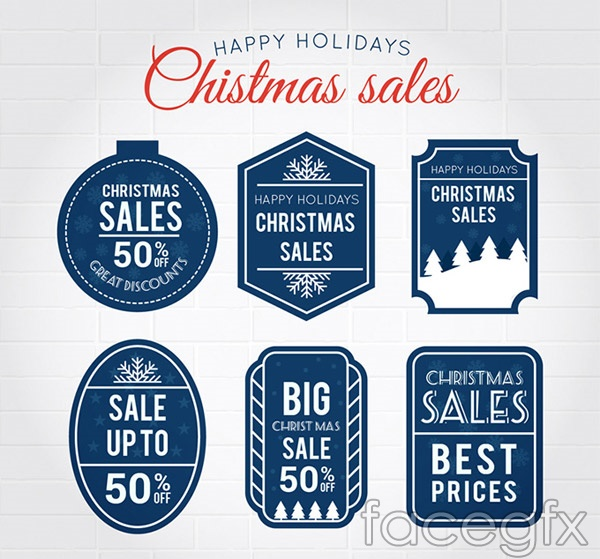 Blue Christmas promotional label vector