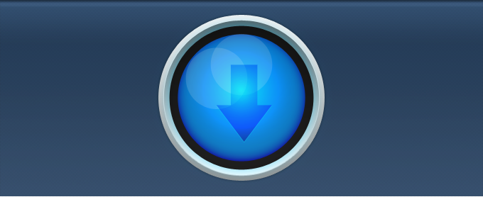 Blue Circular Download Button PSD