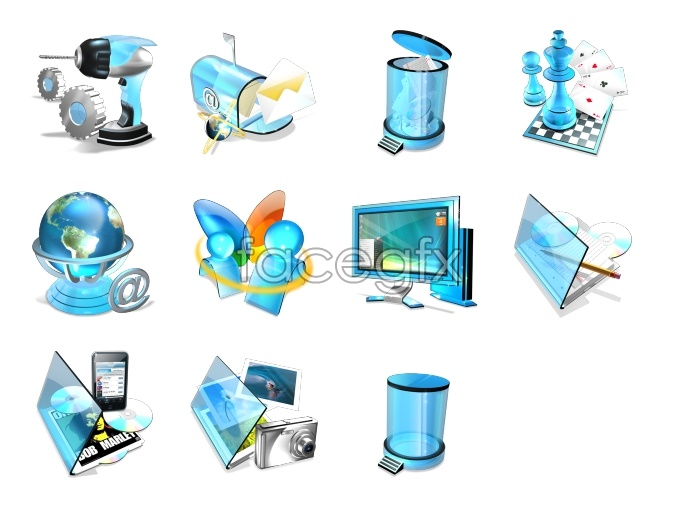 Blue Crystal system desktop icons