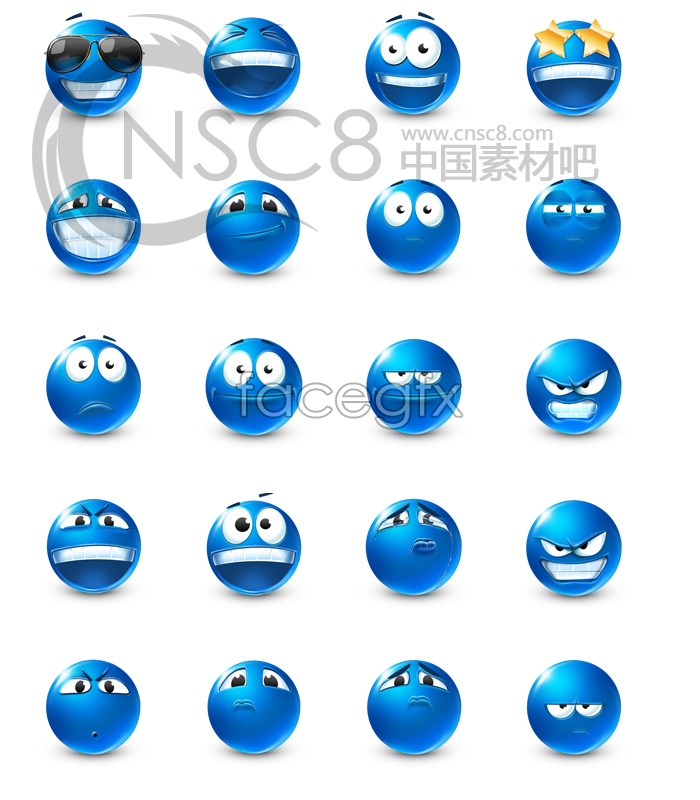 Blue cute emoticons
