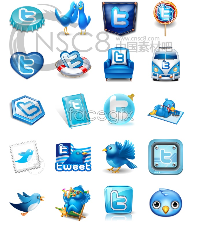 Blue desktop icons